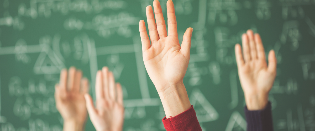 Students raised hands in classroom