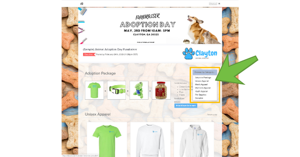 online store product categories