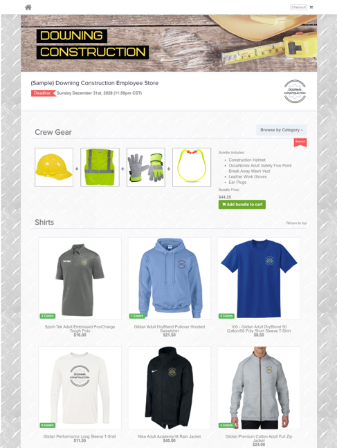 Downing Construction Sample Online Store - OrderMyGear