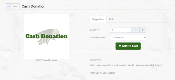 Cash Donation online store OMG